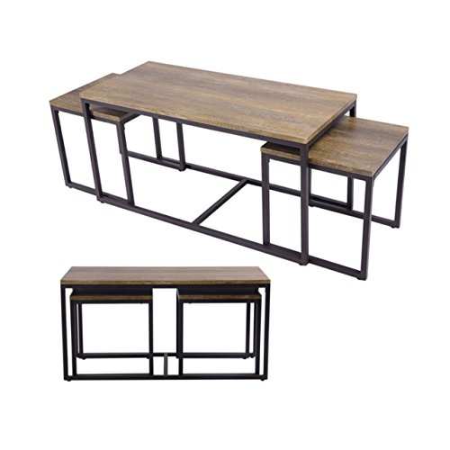 3 Pcs Nesting Coffee End Table Wood Set Modern Living Room Heavy-Load Iron Frame Durable MDF Boards Home Furniture Decor #701b