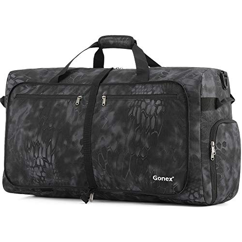 (Gonex 100L Cordura Travel Duffle Bag, Packable Luggage Duffel Water Repellent & Tear Resistant Black Python )