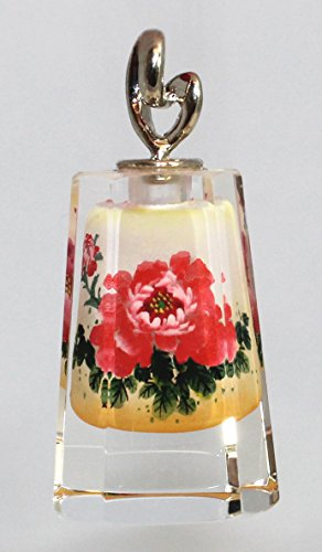 - Red Floral Bloom Dual-Sided Flower Pendant Prism - Hand Painted Crystal Art Glass Collectible Ornament