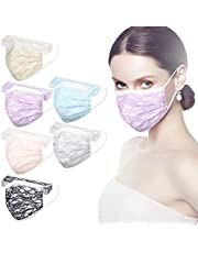 60 Pcs Disposable Cool Net Yarn Face_Masks for Adults,4-ply Summer Breathable Protective Facemasks for Women with Lace,Colorful Dust-Proof Sun Protection Face_Mask for Wedding Holiday Party Gifts
