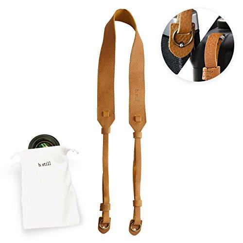 b.still Leather Camera Neck Strap - Shoulder Straps for Film Mirrorless DSLR + Lens Bag