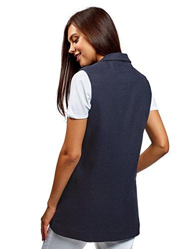 Droit 7900n Collection Bleu Gilet Femme en oodji Lin gRqwPFF