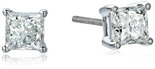 IGI-Certified 14k White Gold Princess Diamond Stud Earrin...
