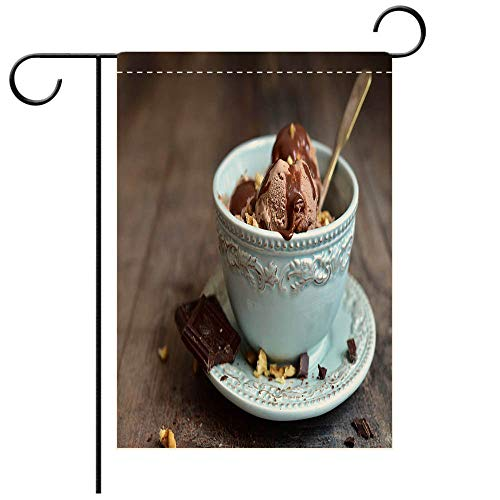 BEICICI Custom Personalized Garden Flag Outdoor Flag Chocolate ice Cream with Walnut in a Vintage Bowl Best for Party Yard and Home Outdoor Decor