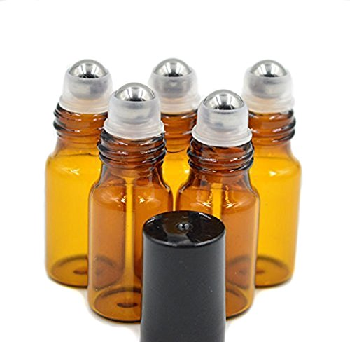 24PCS Amber Empty Glass Roller Bottle Vial Container Holder Pot Jar With Metal Roller Ball and Black Caps for Essential Oil Perfumes Lip Gloss Balms (5ml)