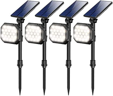 Solar Spotlights Outdoor 22 LED Waterproof Landscape Spot Light Auto On Off Flood Lamp for Garden Yard Patio Lawn Garage Driveway