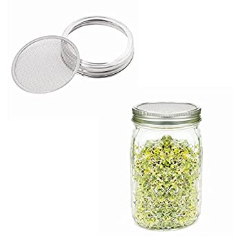 2 Pack Strainer Lid Sprouting Strainer Lid Screen Kits for Wide Mouth Mason Jars