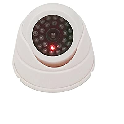 DOITOP Dome Fake Security Camera Dummy CCTV Camera with Flashing Red LED Light for Homes Offices Markets (White)