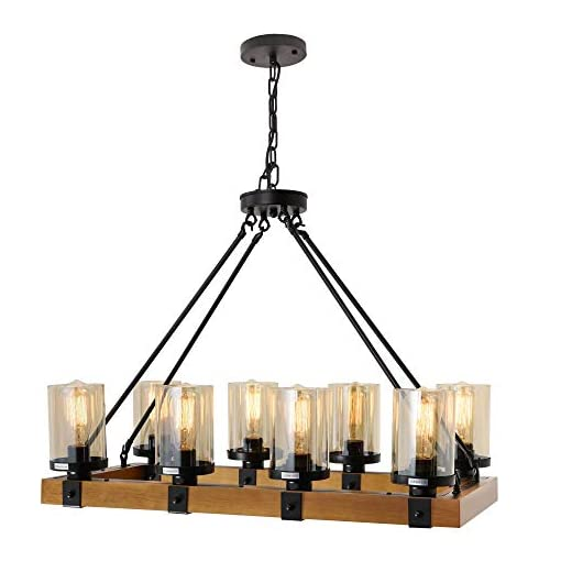 Farmhouse Chandelier For Dining Room Rustic Pendant Light Fixtures Ceiling Hanging Lighting With Glass Accent Kitchen Beachfront Decor
