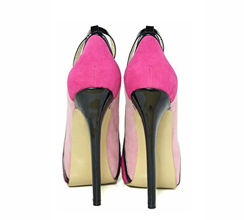 Fine rosa multicolore Tacchi Buckle Banchetto cinturino Anello cuciture Womens Pompino singola 40 Scarpe pink Word One alti testa Ladies piattaforma Tondo YWNC qwAzEt
