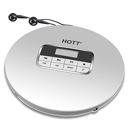 Portable CD Player, HOTT Portable Personal CD Player with Headphone Jack, Anti-Skip / Shockproof Protection Compact CD Music Disc Walkman Player with LCD Display for Adults Students Kids