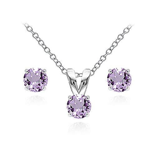 (Sterling Silver Amethyst 5mm Round Solitaire Pendant Necklace and Stud Earrings Set for Teens)