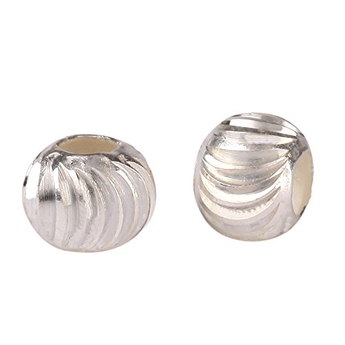 5pcs x 6mm Sterling Silver Infinite Wave Pattern Large Hole Round Spacer Beads (~2.6mm Hole) (Swarovski Crystal Bead Patterns)