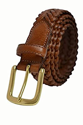 796-TAN/Toneka Men's Camel Tan Full Grain Braided Cowhide Leather Belt with Solid Brass Buckle