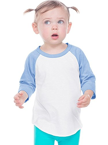 (Kavio Toddlers Jersey Contrast Raglan 3/4 Sleeve White/Azure 4T)