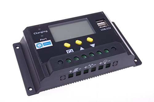 SMAKN® LCD 30A PWM Solar Panel Regulator Charge Controller 48V 30/1440W with Dual USB