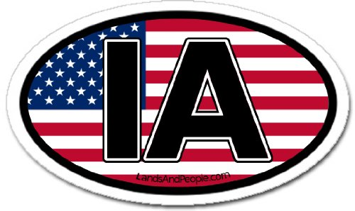 Iowa IA and US Flag Car Bumper Sticker Decal Oval