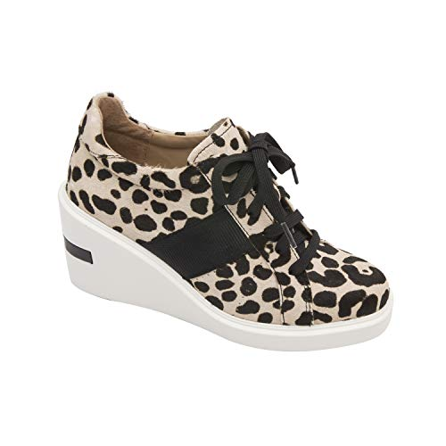 - Linea Paolo Kandis | Sporty Platform Lace Up High Wedge Heel Sneaker White/Black Leopard Print Hair Calf 7.5M