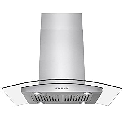 "Perfetto Kitchen and Bath 36"" Island Mount Stainless Steel and Tempered Glass Made Kitchen Cooking Vent Range Hood Fan w/Classical Push Button Control"
