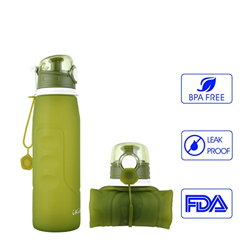 iKiKin Collapsible Bottle Silicone Leak Proof BPA Free Portable Lightweight Water Bottle 1000ML 1L 35OZ (Green)