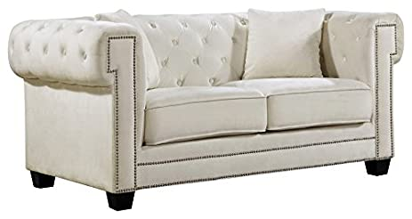 Meridian Furniture 614Cream L Bowery Button Tufted Velvet Upholstered  Loveseat With Square Arms, Nailhead