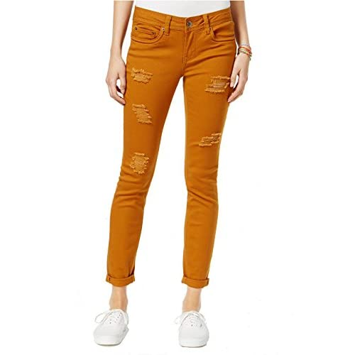 New dollhouse Women's Ripped Colored Wash Skinny Jeans