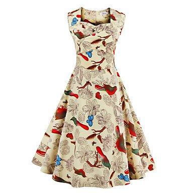 PU&PU Robe Aux femmes Trapèze Vintage,Imprimé Col Carré Mi-long Coton / Polyester , pink , s