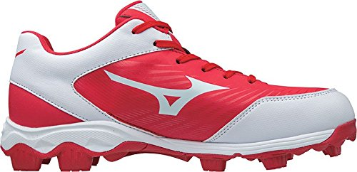 (Mizuno (MIZD9 Boys' 9-Spike Advanced Franchise 9 Molded Youth Baseball Cleat-Low Shoe, Red/White 4.5 US Big Kid)