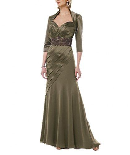 Royaldress Festlich Olive Gruen Satin Abendkleider Brautmutter Partykleider Langarm Bolero Rueschen Lang
