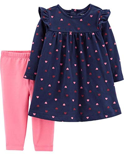 (Carter's Baby Girls 2-Piece Dress with Legging Set (12 Months, Navy/Pink Hearts))