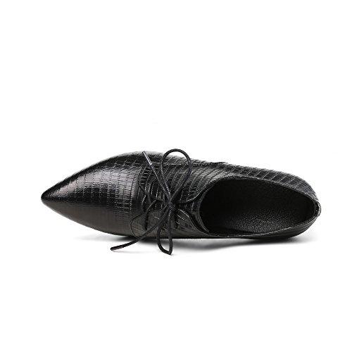 Neuf Sept Femmes En Cuir Véritable Bout Pointu Chunky Talon Dentelle Jusquà La Main Élégantes Pompes Habillées Chaussures Noir