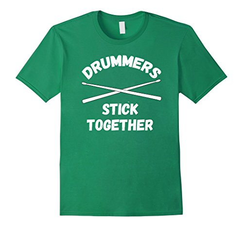 Mens Drummers Stick Together Drumsticks, Drumline T Shirt Medium Kelly Green - Marching Band Green T-shirt