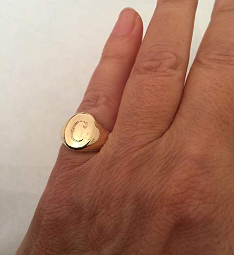 bada3010fb Amazon.com: Personalized Signet Ring with Engraving, Oval Pinky ring,  Handmade Jewelry: Handmade