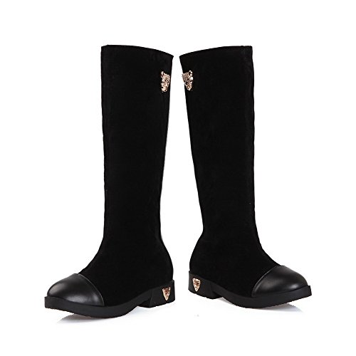Agoolar Mujeres Solid Low-heels Round Closed Toe Blend Materiales Botas Con Cremallera Negro