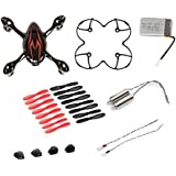 AFUNTA Hubsan X4 H107C Quadcopter Red/Black Spare Parts Crash Pack (One Body Shell + One protective cover + 4 Rubber Feet + 4 x Spare Set + One spare 380mA battery + 2 Motors)