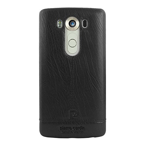 Pierre Cardin Top Cow Original Genuine Leather Snap Hard Back Case Slim Fit Skin Cover for LG V10 (Black) (Cow Leather Cell Phone)
