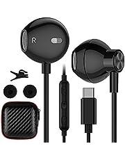 USB C hörlurar Semi In Ear Headset – HiFi Stereo USB Typ C hörlurar med kabel och mikrofon volymkontroll för Samsung S20 FE S21 Ultra S21 Z Flip Z Fold 3 OnePlus 9 Pro 8T Nord 2 pixlar 5