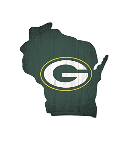Fan Creations Green Bay Packers Wood Sign 12 Inch State Shape Design