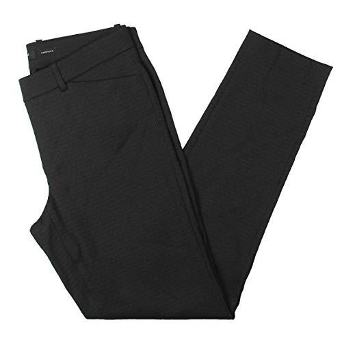 Lafayette 148 New York Womens Patterned Straight Leg Cropped Pants Black 10 ()