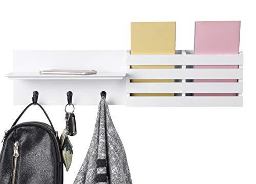 eMerit Wooden Wall Floating Mail Holder Organizer Shelf with 3 Hooks for Coat Bag Key Hanger, 24