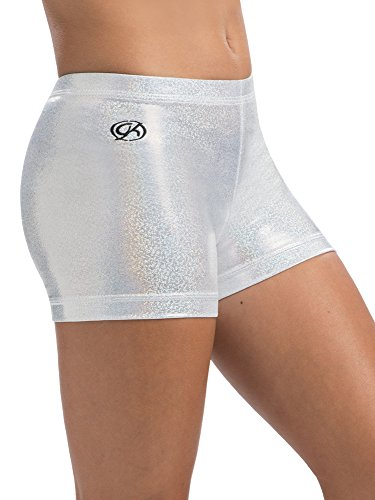 GK White Sparkle Cheer Shorts - ADULT SMALL (Shorts Gk)