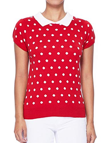 (YEMAK Classic Collar Short Sleeves Polka Dot Stretchy Casual Pullover Sweater MK3673-RED/IVR-S)