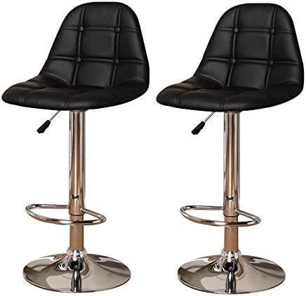 Kings Brand Furniture Contemporary Adjustable Height Vinyl Upholstery Bar Stool with Chrome Base Set of 2 , Black