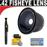 .42x HD Super Wide Angle Panoramic Macro Fisheye Lens + Lenspen + 5 Pc Cleaning Kit + DB ROTH Micro Fiber Cloth For The JVC GZ-HM1, HM400 Camcorder