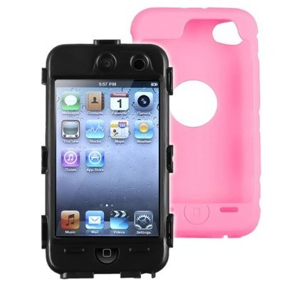 niceEshop Black Hard / Pink Skin Hybrid Case Cover compatible with Apple iPod Touch 4G, 4th Generation, 4th Gen 8GB / 32GB / 64GB