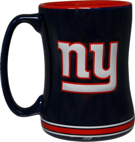 New York Giants 14  Ounce Sculpted Logo Relief Coffee Mug