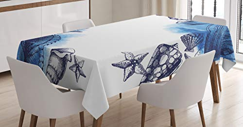 Ambesonne Ocean Tablecloth, Sealife Sea Shells and Sand Stones Deep Water Star Fish Blue Toned Design, Dining Room Kitchen Rectangular Table Cover, 60 W X 84 L Inches, Navy Blue and White