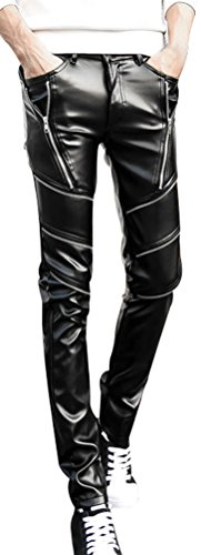 New Mens Leather Pants - Bellady Men Faux PU Leather Skinny Black Biker Pants