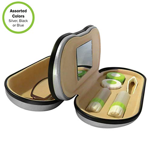Evelots Dual Sided 2 in 1 Glasses-Contact Lens Case-Mirror-Travel Kit- 3 - Case Contact Cleaning