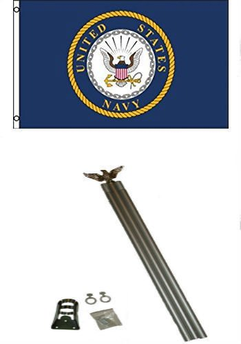 Moon 3x5 U.S. Navy Crest Seal Flag w 6 Ft Aluminum Flagpole Flag Pole kit - Bright Color UV Resistant - Prime Outside Garden Cave Home Decor by Moon